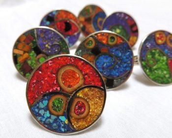 Filigrana compuesta - anillos con mosaico de piedra